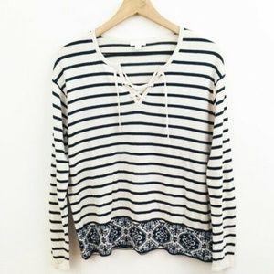 J. Jill Knit Stripe Lace Up Cotton Top Small
